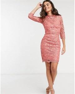 Розовое платье из кружева кроше Paper dolls
