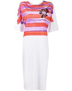 Полосатое платье футболка длины миди Marni