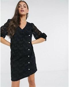 Черное кружевное платье мини с запахом Avador Just female