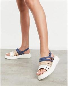 Разноцветные замшевые массивные сандалии с открытой пяткой silvia Fiorelli