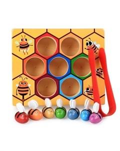 Деревянная игрушка Сортер Пчелки и улей с щипцами Умный ежик