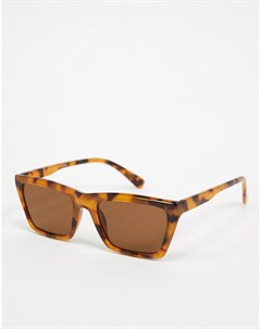 Квадратные солнцезащитные очки в черепаховой оправе с коричневыми стеклами Topman
