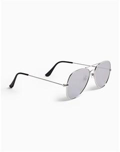 Солнцезащитные очки авиаторы в серебристой оправе с зеркальными стеклами Topman