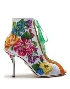 Ботильоны на шнуровке с цветочным принтом Dolce&gabbana