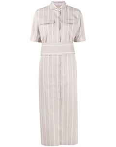 Полосатое платье рубашка с короткими рукавами Brunello cucinelli