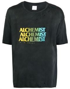 Футболка с логотипом и эффектом потертости Alchemist