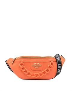 Поясная сумка с логотипом и цепочкой Love moschino