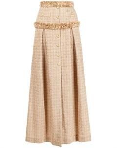 Твидовая юбка с бахромой Elisabetta franchi