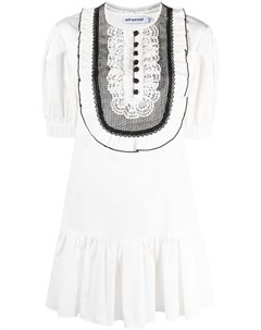 Платье с приспущенной талией и оборками Self-portrait