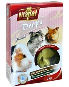 Drops Milk Honey лакомство дропсы для грызунов и кроликов с молоком и медом 75 гр Vitapol