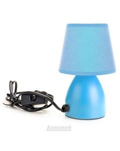 Лампа настольная 1 Е14 25Вт h 19 см DE1202 220В сталь и ткань голубая D+