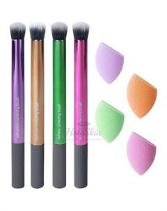Набор разноцветных спонжей и кистей для макияжа Real techniques