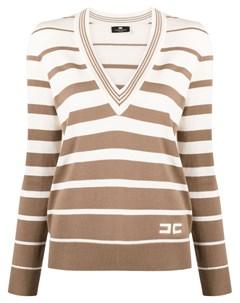 Полосатый свитер с V образным вырезом Elisabetta franchi
