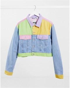 Укороченная джинсовая куртка в стиле пэчворк в пастельных тонах Ragged Priest The ragged priest