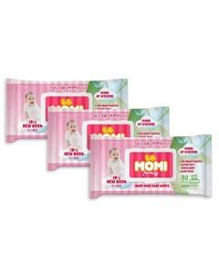 Влажные салфетки Family с экстрактом алоэ 80 3шт Momi