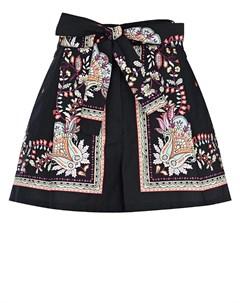 Черные шорты с цветочным принтом Twinset