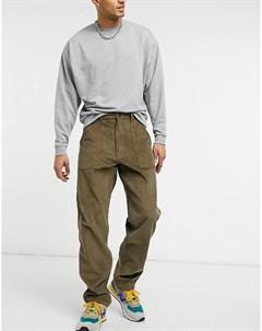 Зауженные книзу вельветовые брюки цвета хаки c карманами карго Stan ray®