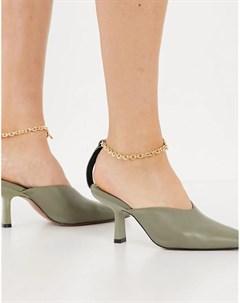 Туфли оливкового цвета на среднем каблуке с цепочкой на щиколотке Seren Asos design