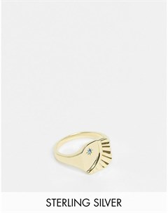 Позолоченное кольцо печатка из стерлингового серебра с гравировкой в виде луны и синим камнем Serge denimes