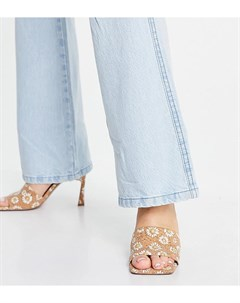 Босоножки мюли на среднем каблуке для широкой стопы с цветочным принтом Hattie Asos design