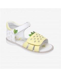 Сандалии для девочки Kapika желтый белый Mothercare