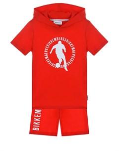 Красный комплект футболка шорты детский Bikkembergs