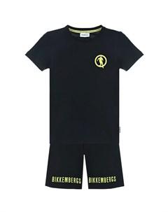 Черный комплект футболка шорты детский Bikkembergs