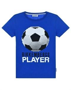 Синяя футболка с принтом Футбольный мяч детская Bikkembergs
