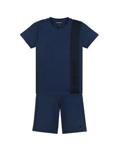 Синий комплект футболка бермуды детский Emporio armani