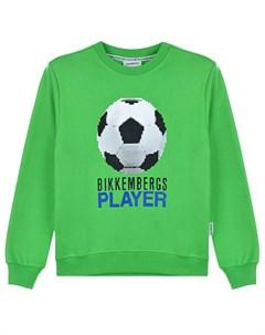 Зеленый свитшот с принтом Футбольный мяч детский Bikkembergs