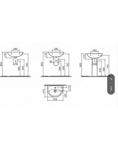 Раковина Fit 55 белая 6894B099 1776 Norm