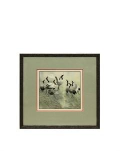 Картина Восемь журавлей Живой шелк