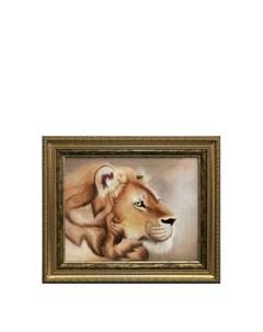 Картина Голова льва Живой шелк