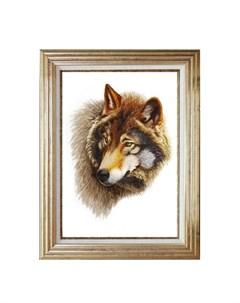 Картина Голова волка Живой шелк
