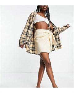 Светло бежевая мини юбка с запахом и узлом ASOS DESIGN Tall Asos tall