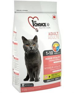 Cat Adult Indoor Vitality для взрослых кошек живущих дома с курицей 0 907 кг 1st choice