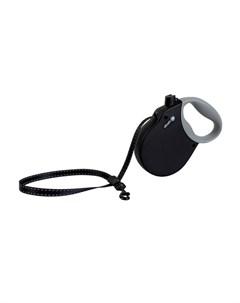 Adventure S Поводок рулетка для собак до 20 кг лента черная Alcott