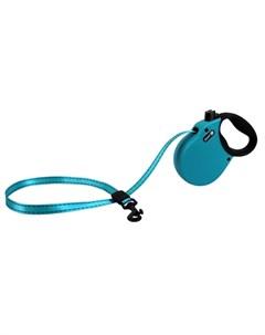 Adventure S Поводок рулетка для собак до 20 кг лента голубая Alcott