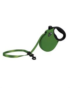 Adventure M Поводок рулетка для собак до 30 кг лента зеленая Alcott