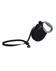 Adventure M Поводок рулетка для собак до 30 кг лента черная Alcott