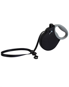 Adventure L Поводок рулетка для собак до 50 кг лента черная Alcott