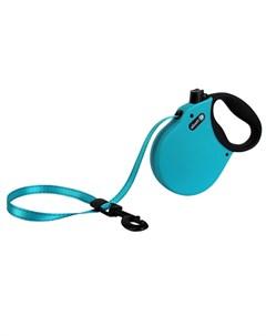 Adventure L Поводок рулетка для собак до 50 кг лента голубая Alcott