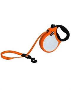 Visibility L Поводок рулетка для собак до 50 кг лента оранжевая Alcott