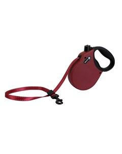 Adventure M Поводок рулетка для собак до 30 кг лента бордо Alcott