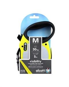Visibility M Поводок рулетка для собак до 30 кг лента чёрно жёлтая Alcott