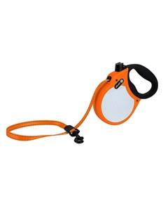 Visibility M Поводок рулетка для собак до 30 кг лента оранжевая Alcott