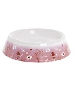Karlie Миска для кошек керамика розовая с рисунком цветы Flamingo