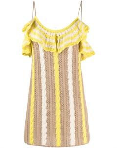 Платье мини фактурной вязки с оборками Msgm