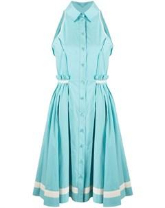 Плиссированное платье рубашка в полоску Moschino