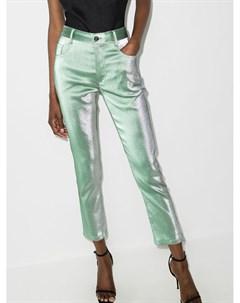 Прямые брюки с эффектом металлик Area